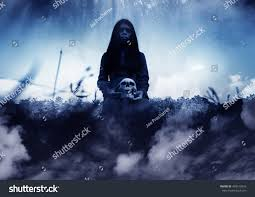 ghost human skull handscary background stock photo 493512616