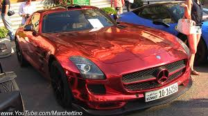 Red Chrome Mercedes Sls Amg With Sports Exhaust Youtube