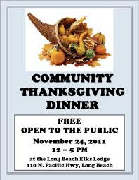 community thanksgiving dinner at the elks nov 24 visit