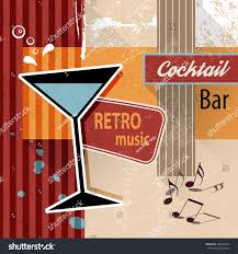 pink martini poster cocktail lounge bar retro poster background stock vector 254030605