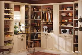 kitchen corner white wooden pantry cabinet with shelves and racks