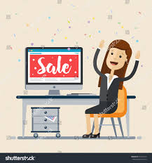 Computer Desk Sale Business Woman Sitting Computer Desk Laptop Stock Vector 612634712