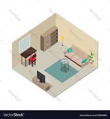 isometric floor plan isometric interior design living room furniture vector image