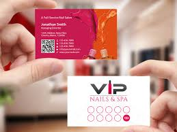elegant playful business card design for vip nails u0026 spa by
