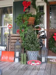 porch christmas trees gardens and landscapings decoration christmas front porch 2012 cottage in the oaks christmas tree in olive bucket