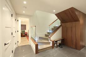 glass stair railings staircase contemporary with basement ceiling