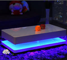 Coffee Tables With Led Lights Contemporary Glossy White Coffee Table Led Lights Led Coffee