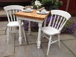shabby chic solid oak dining table u0026 2 white chairs butchers