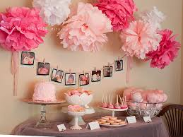 baby shower decorations ideas baby shower decorations ideas for girl pink white tissue