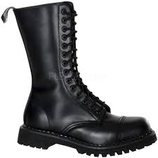 motorcycle boots shoes rugged biker goth leather mid calf cap toe lace up combat boots
