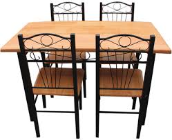 New Kitchen Dining Set With Table Chairs Metal Frame Wood Seat - Beech kitchen table