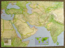 Southwest Asia Physical Map by Afghanistan Central Asia U2013 Middle East Laminated Wall Map Jimapco
