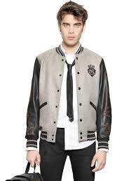 Wool Bomber Jacket Mens Diesel Wool Felt Varsity Bomber Jacket In Gray For Men Lyst