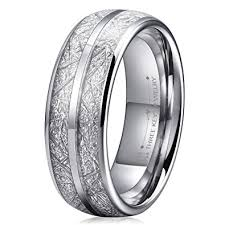meteorite wedding band three 8mm tungsten wedding ring for men domed imitated