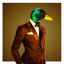geometric mallard duck digital art by gallini design