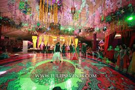 enchanted mehndi stage dance floor roof decoration ideas in
