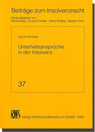 unterhaltsansprüche 9783814516370 unterhaltsansprüche in der insolvenz by