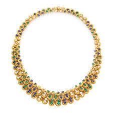 sapphire emerald necklace images Fd gallery a sapphire emerald and diamond necklace by van jpg