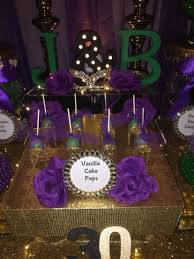 birthday masquerade party candy buffet in purple green black