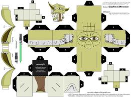 free yoda paper craft cubee printable freebies pinterest war