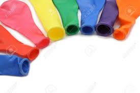 plastic balloons few multicolored plastic balloons not blown up isolated on