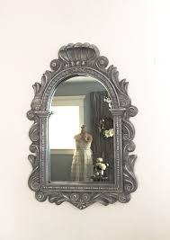grey scallop mirror decorative wall mirror vanity bathroom