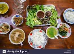 traditional myanmar food lunch served in a restaurant in yangon