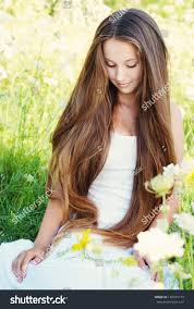 beautiful young woman very long hair stock photo 149375174