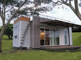 retro tiny container house design with stair up top roof as well