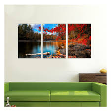 red maple leaves canvas wall art3 panels 16x24 each pieceautumn