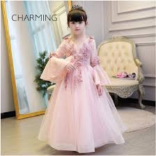 light pink flower dresses baby maxi dress pink high quality lace fabric horn cuff design