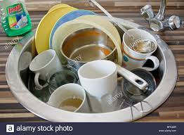 Kitchen Sink Full Of Dirty Washing Up Stock Photo Royalty Free - Dirty kitchen sink