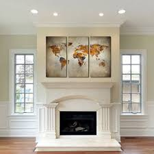 Wall Art Sets For Living Room Rustic World Map Canvas Art Set Of 3 Giclee Print Triptych Wall