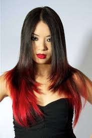red highlights in black long hair red and black hairstyles for
