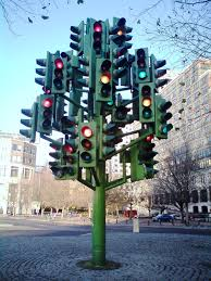 facing a light lighted trees traffic light and