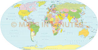 Latitude And Longitude World Map by Digital Vector World Political Map In The Robinson Projection Uk