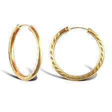 gold sleeper earrings 9ct yellow gold diamond cut capped sleeper 2 5mm hoop earrings 25mm