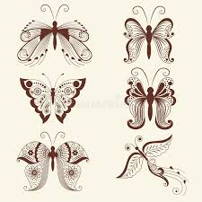 vector illustration of butterflies in mehndi ornament traditional