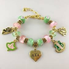 gold bracelet charms images Aka pink green gold charms bracelet alpha kap alpha sorority gold jpg