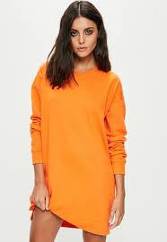 orange dress orange sleeve sweater dress missguided
