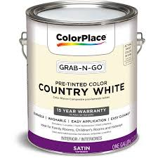 colorplace grab n go country white satin interior paint 1 gallon
