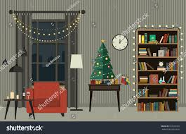 christmas tree living room furniture flat stock vector 507353320
