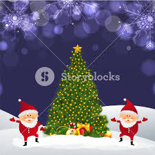 beautiful xmas tree with cute santa claus on snowflakes decorated