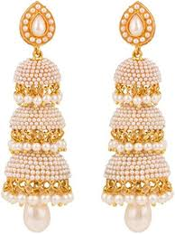 jhumka earrings buy shining gold plated three tier jhumka earrings for