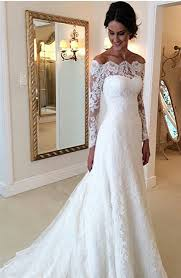 custom made wedding dress diyouth white the shoulder lace sleeve bridal gowns
