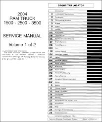 Dodge 3500 Truck Specs - 2004 dodge ram 1500 3500 repair shop manual original 2 volume set