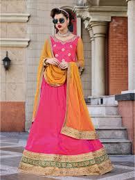 Yellow Mustard Color Light Pink Banarasi Silk Lehenga With Soft Net Mustard Yellow