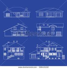 big set suburban houses front view stock vector 598857152