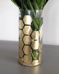 Diy Vases Diy Gold Leaf Honeycomb Vase Makely