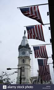 Flag Of Philadelphia American Flag And Top Of Philadelphia City Hall Tower Philadelphia